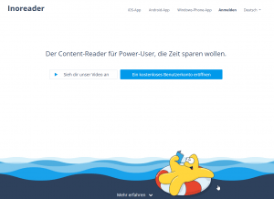 Screenshot Inoreader Website